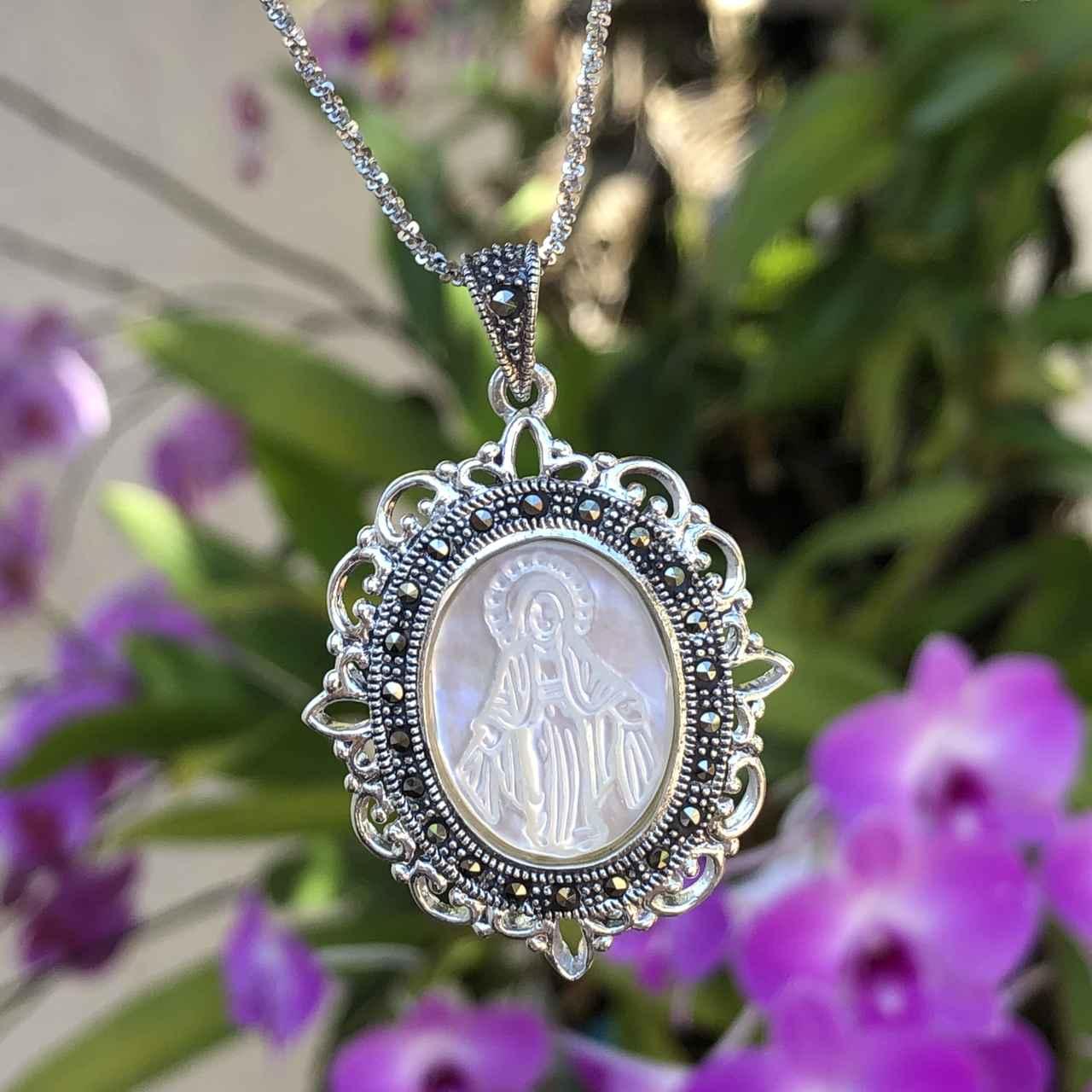 Colar de Prata 925 Madrepérola Nossa Senhora e Marcassita