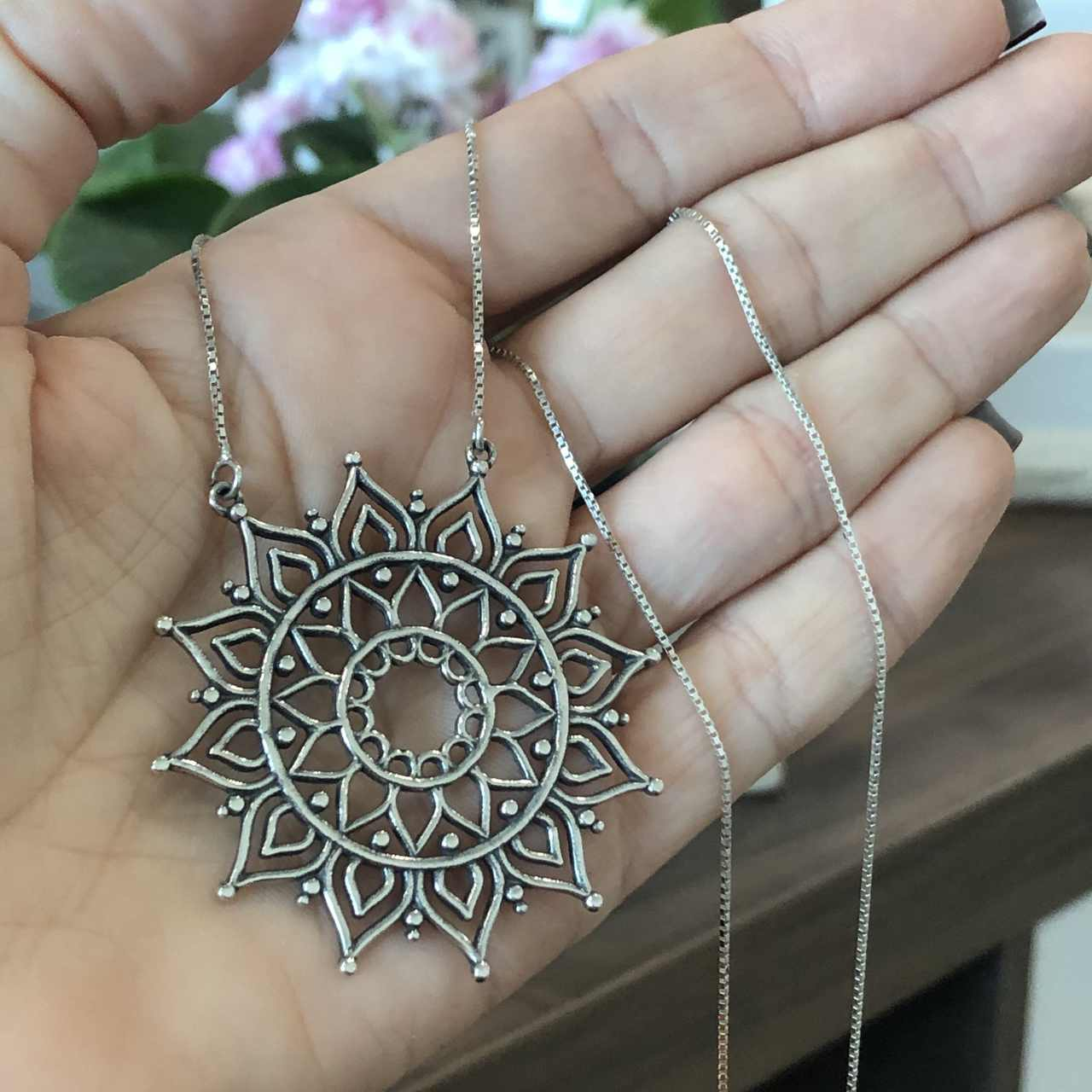 Colar de Prata 925 Mandala Vazada