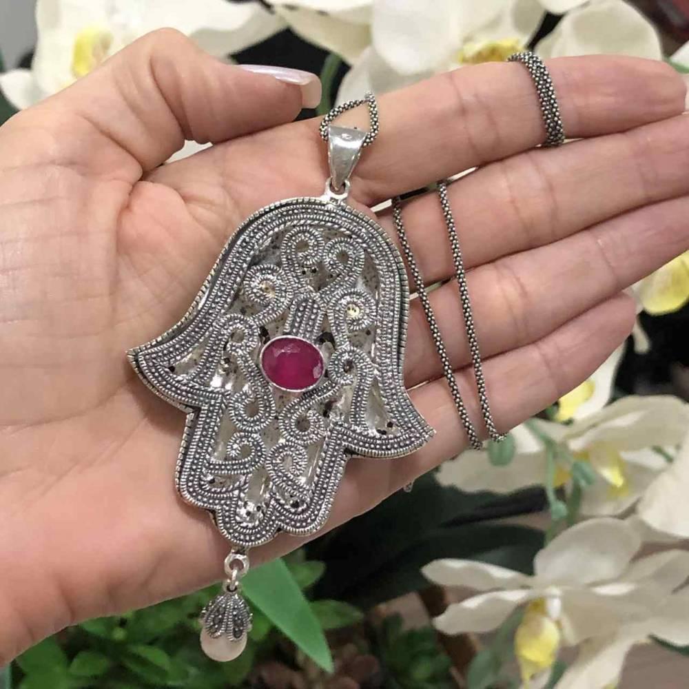Colar de Prata 925 Mão de Fátima Marcassita e Turquesa