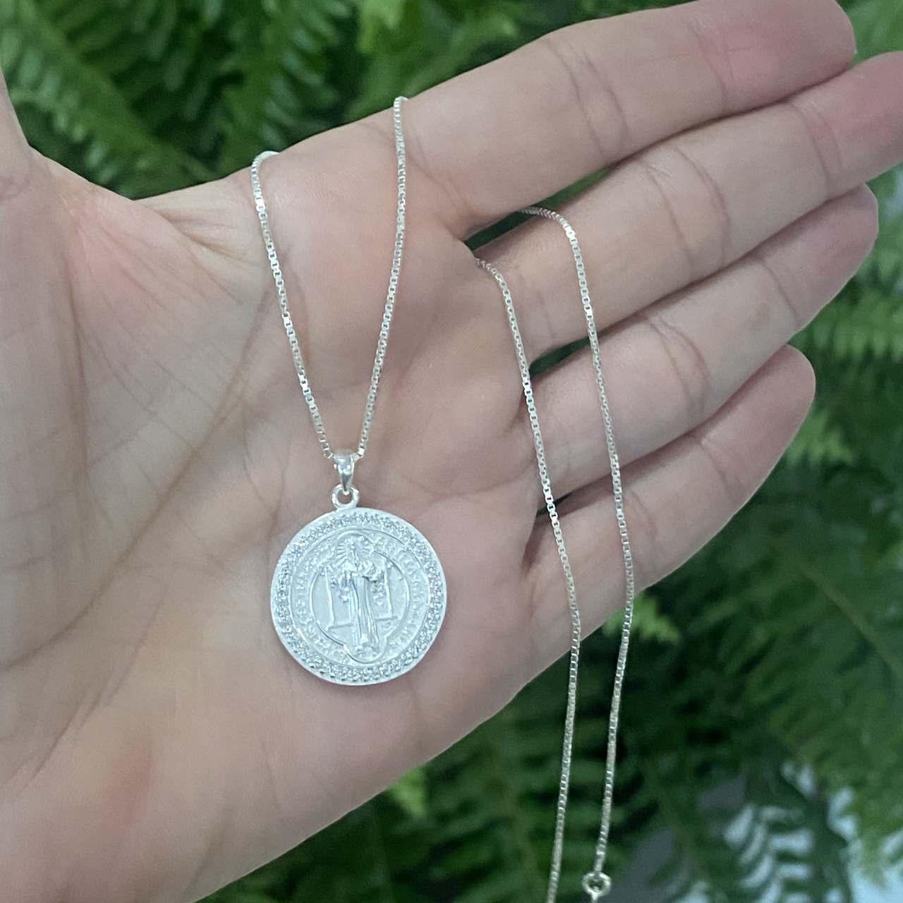 Colar de Prata 925 Medalha de São Bento Cristal 2cm