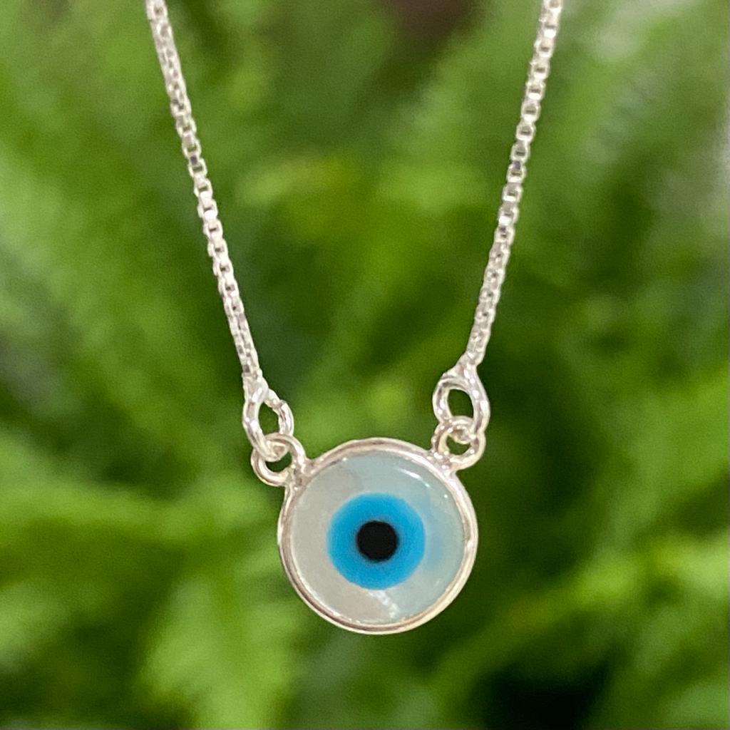 Colar de Prata 925 Olho Grego Madrepérola Pequeno 0,9cm