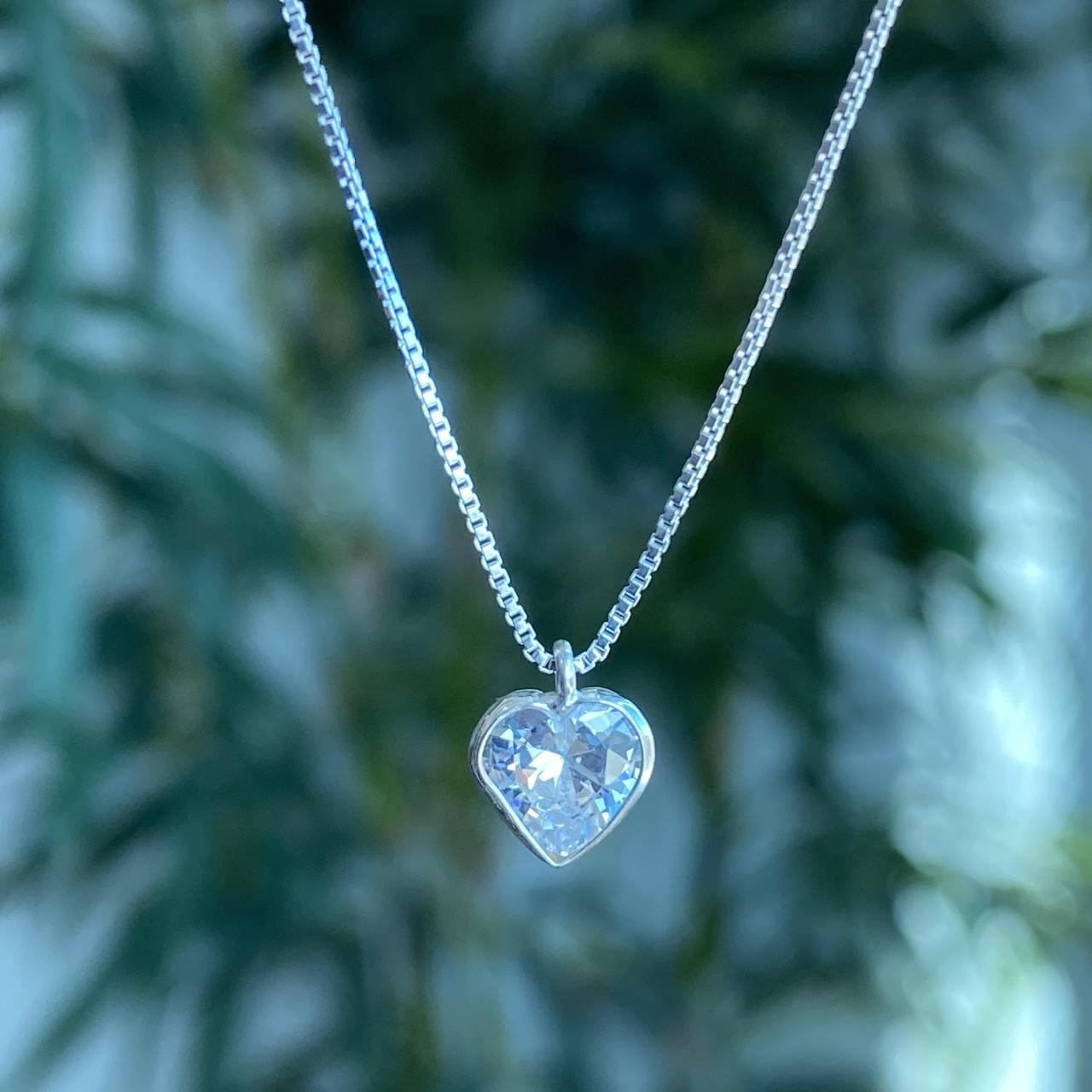 Colar de Prata 925 Ponto de Luz Zircônia Coração C/ Corrente