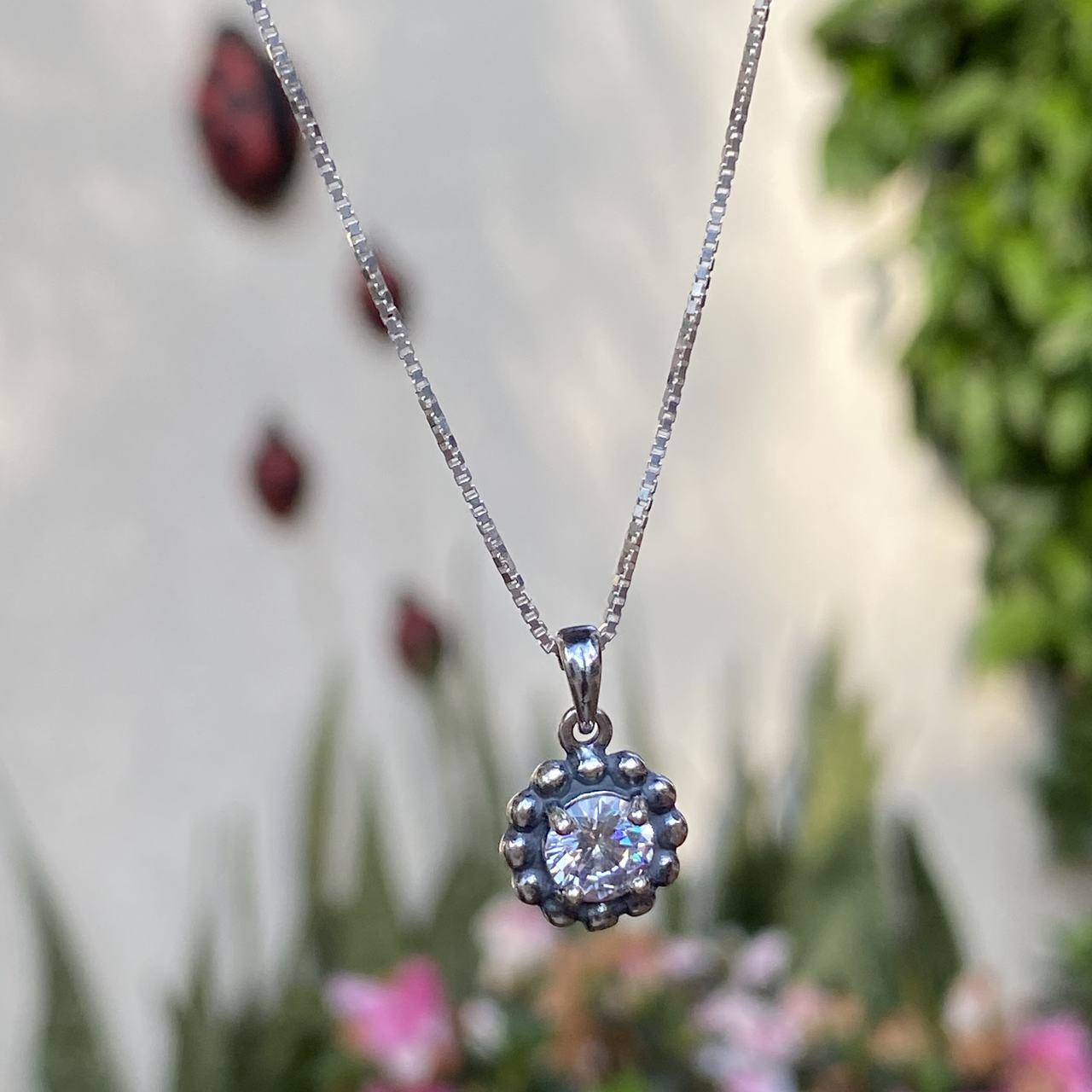 Colar de Prata 925 Rodinha Envelhecido Cristal Redondo 1cm