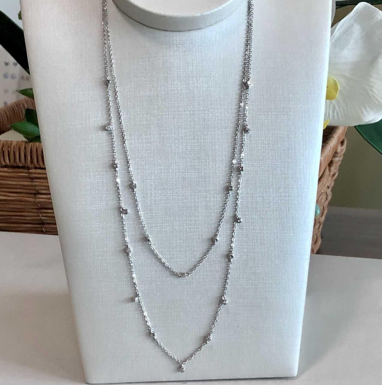 Colar de Prata 925 Tiffany Duplo Cristal