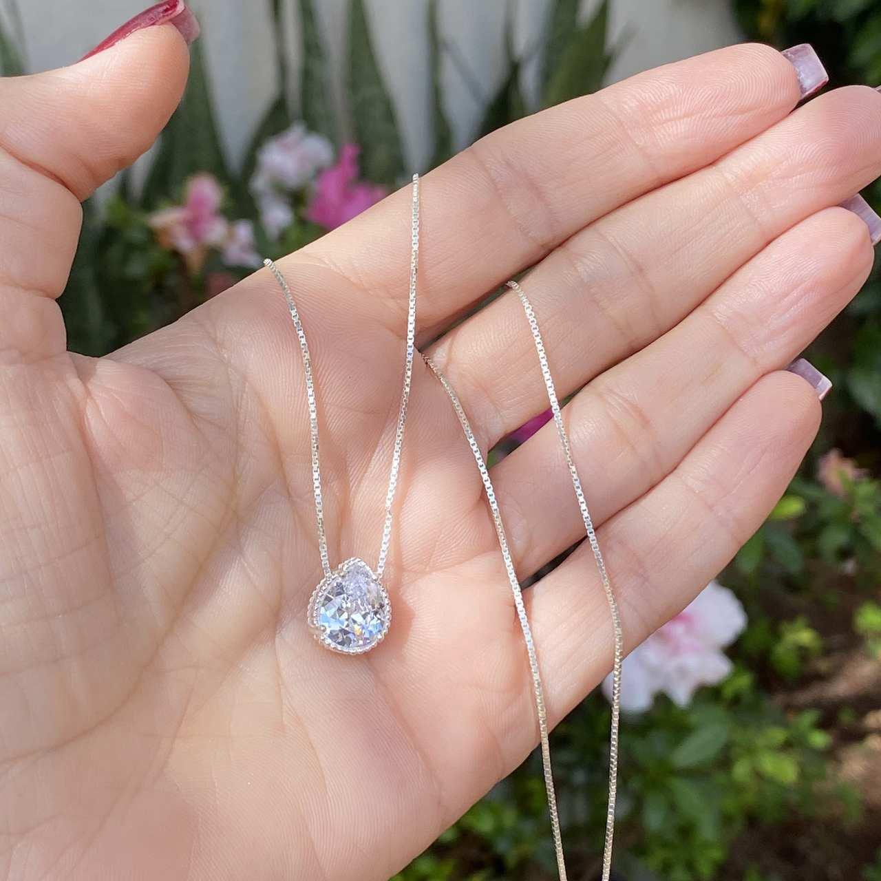 Colar de Prata 925 Zircônia Cristal Gota Ping. 1,2 cm
