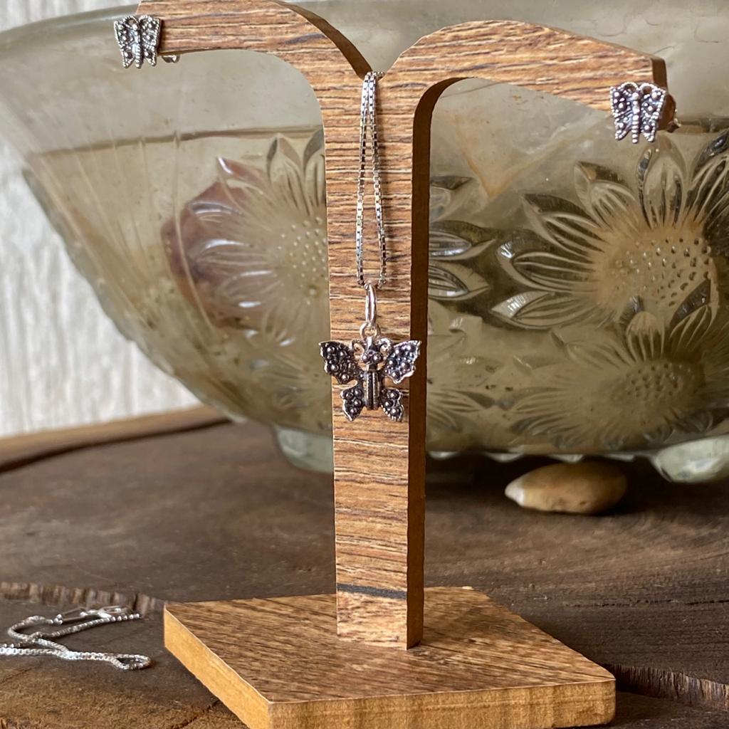 Conjunto de Prata 925 Borboleta Envelhecida