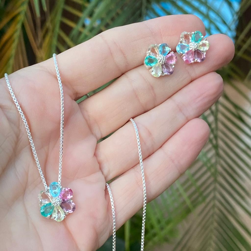Conjunto de Prata 925 Brinco e Pingente Flor Color