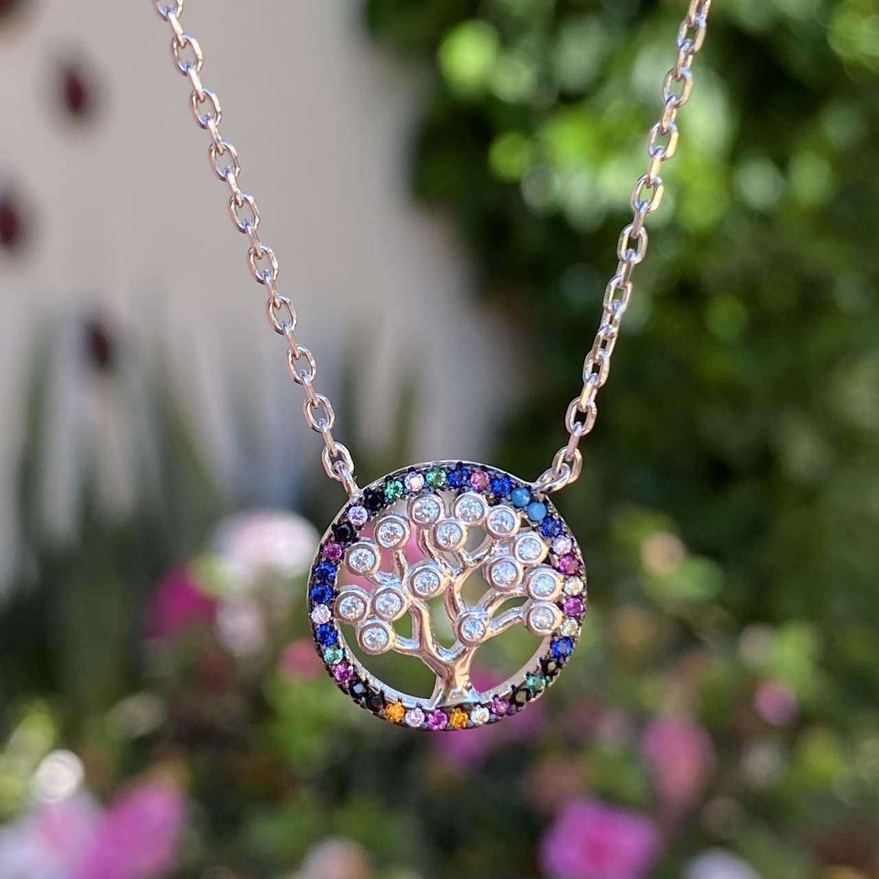 Conjunto de Prata 925 colar e brinco Árvore da Vida