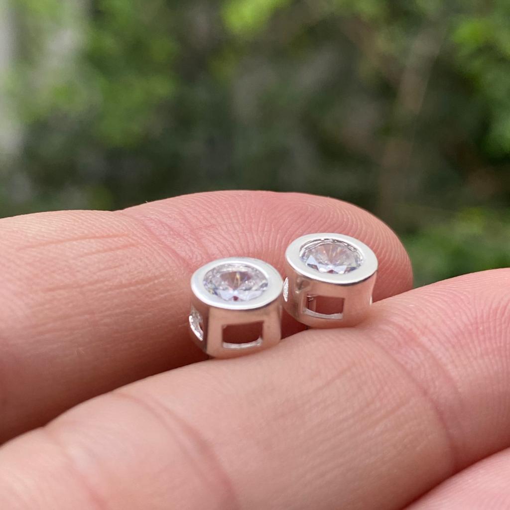 Conjunto de Prata 925 Colar e Brinco Ponto de Luz Luxo 6,6mm