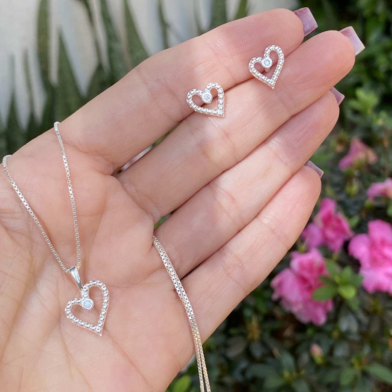 Conjunto de Prata 925 Coração Bolinha Vazado Cristal