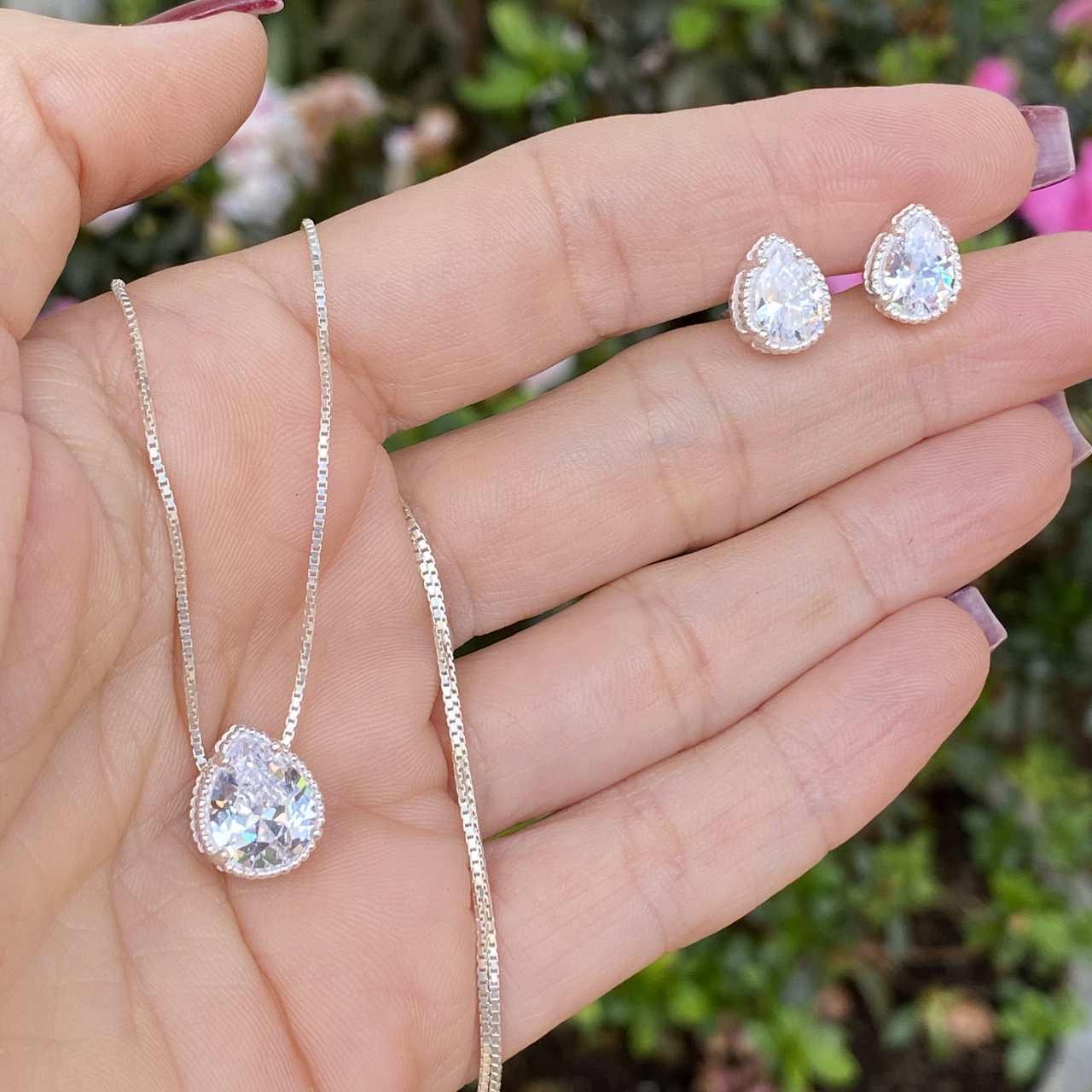 Conjunto de Prata 925 Zircônia Cristal Gota