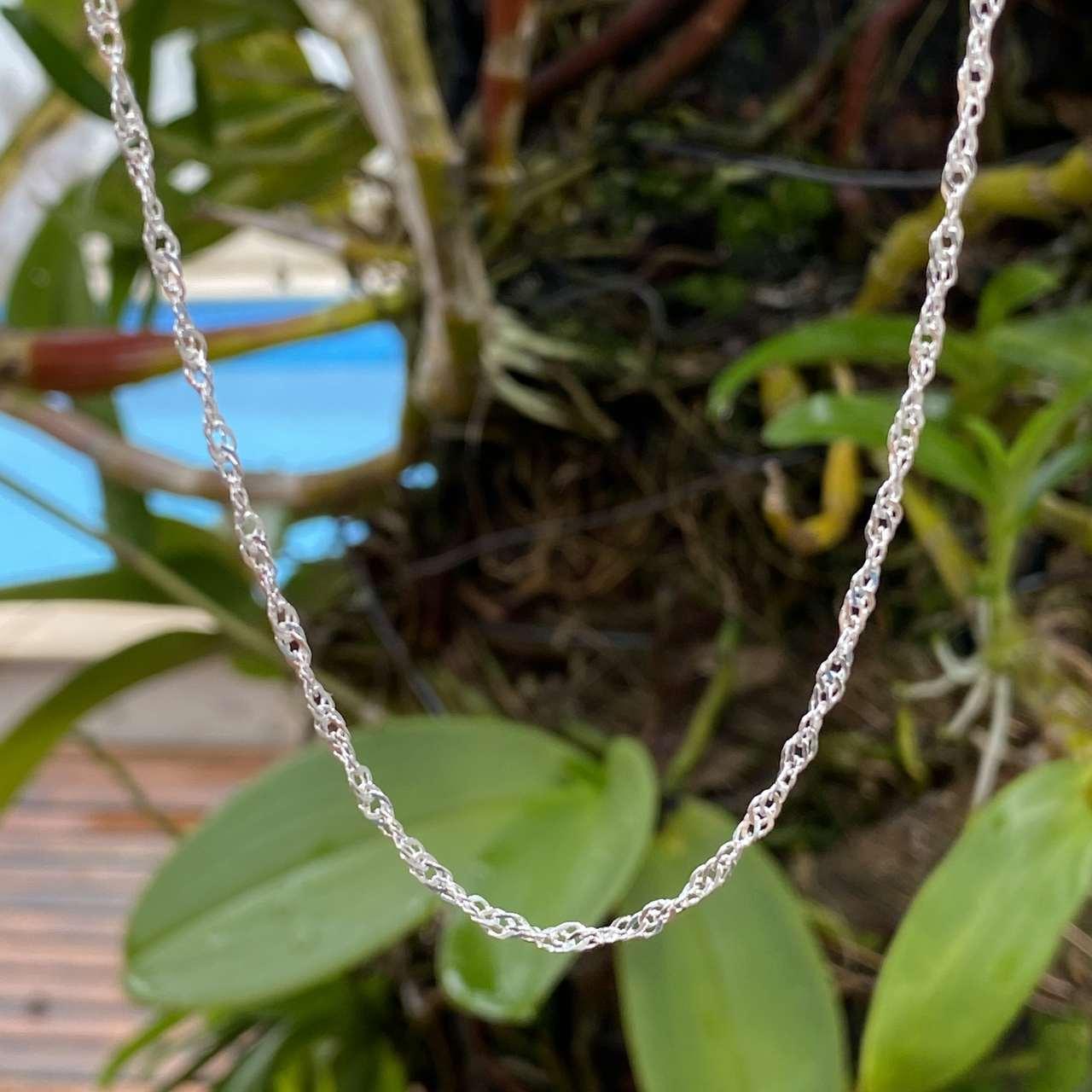 Corrente de Prata 925 Cingapura 45cm 2,6mm