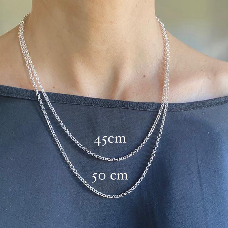 Corrente de Prata 925 Elo Português Pequeno 45cm 2,5mm