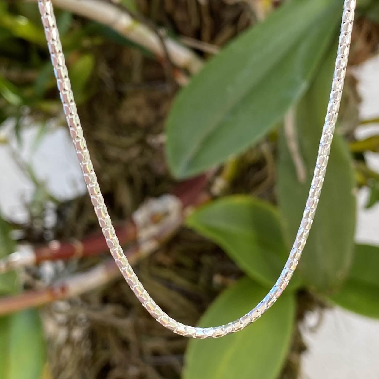 Corrente de Prata 925 Pipoca Branca 50cm Espessura 2mm