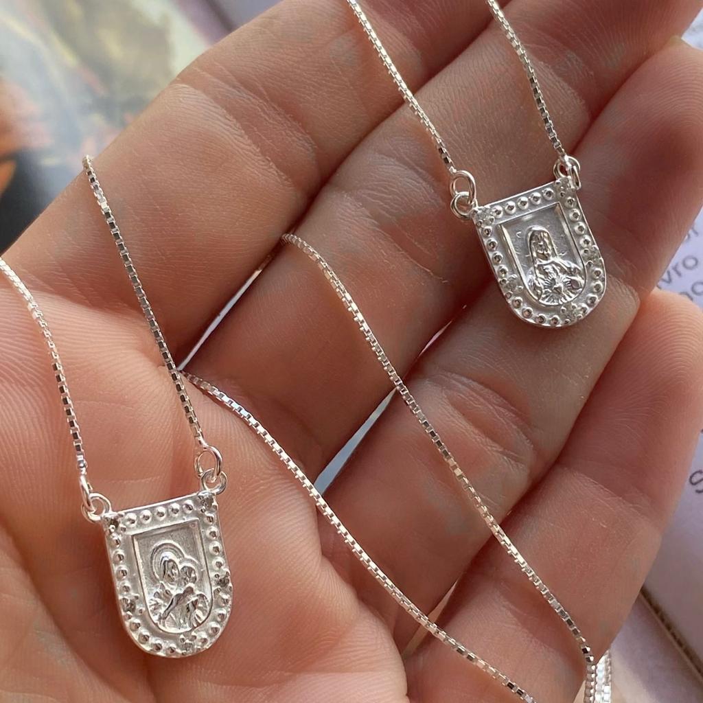 Escapulário de Prata 925 S.Família e S.Coração de Jesus 60cm