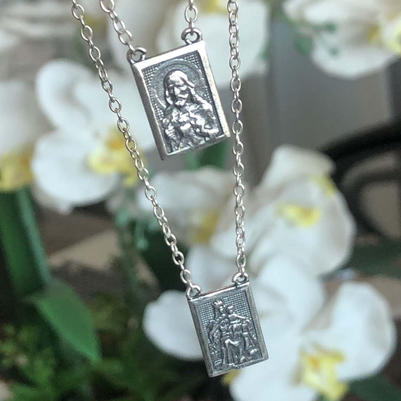 Escapulário de Prata 925 Sagrado Coração e Nossa Senhora