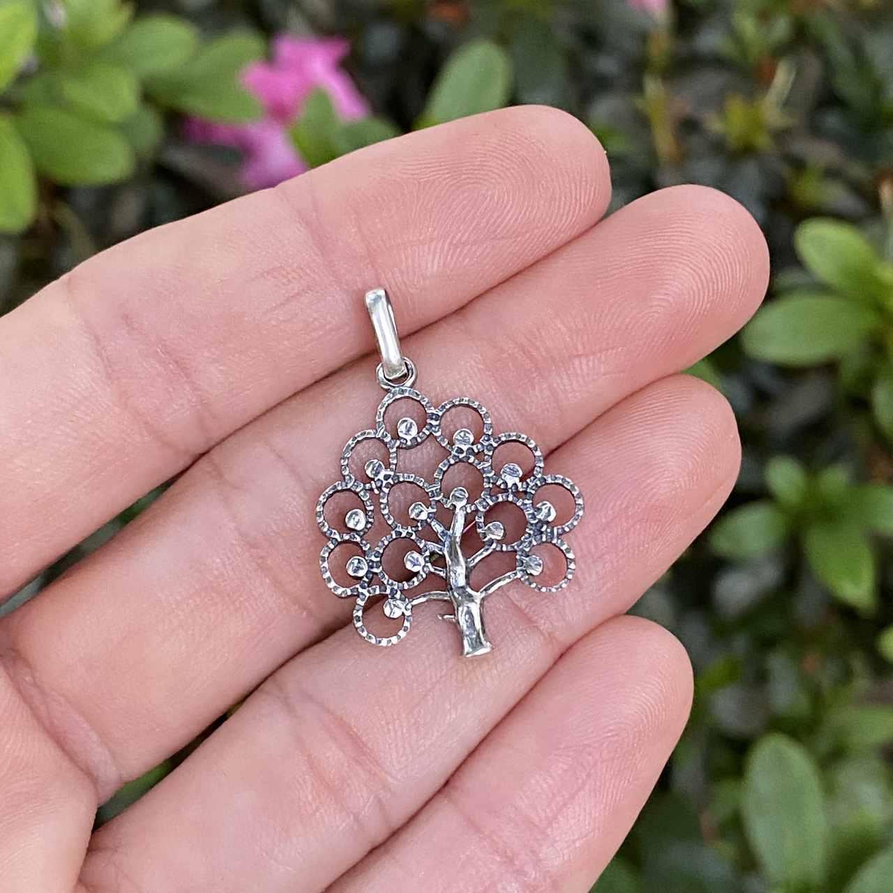 Pingente de Prata 925 Árvore da Vida Vazado Envelhecido