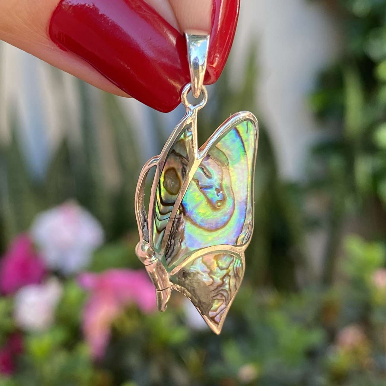 Pingente de Prata 925 Borboleta com Pedra Natural