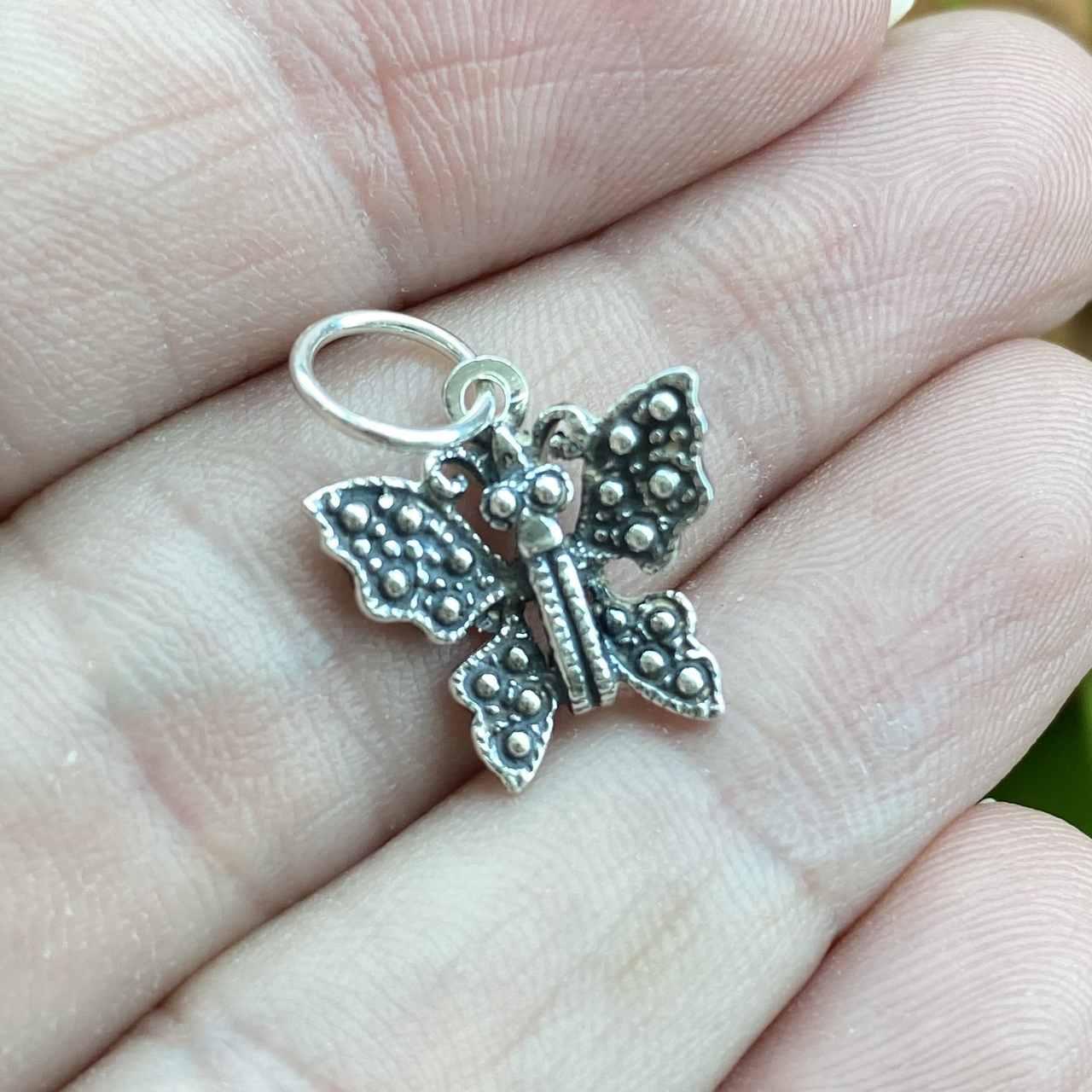 Pingente de Prata 925 Borboleta Envelhecida 2cm