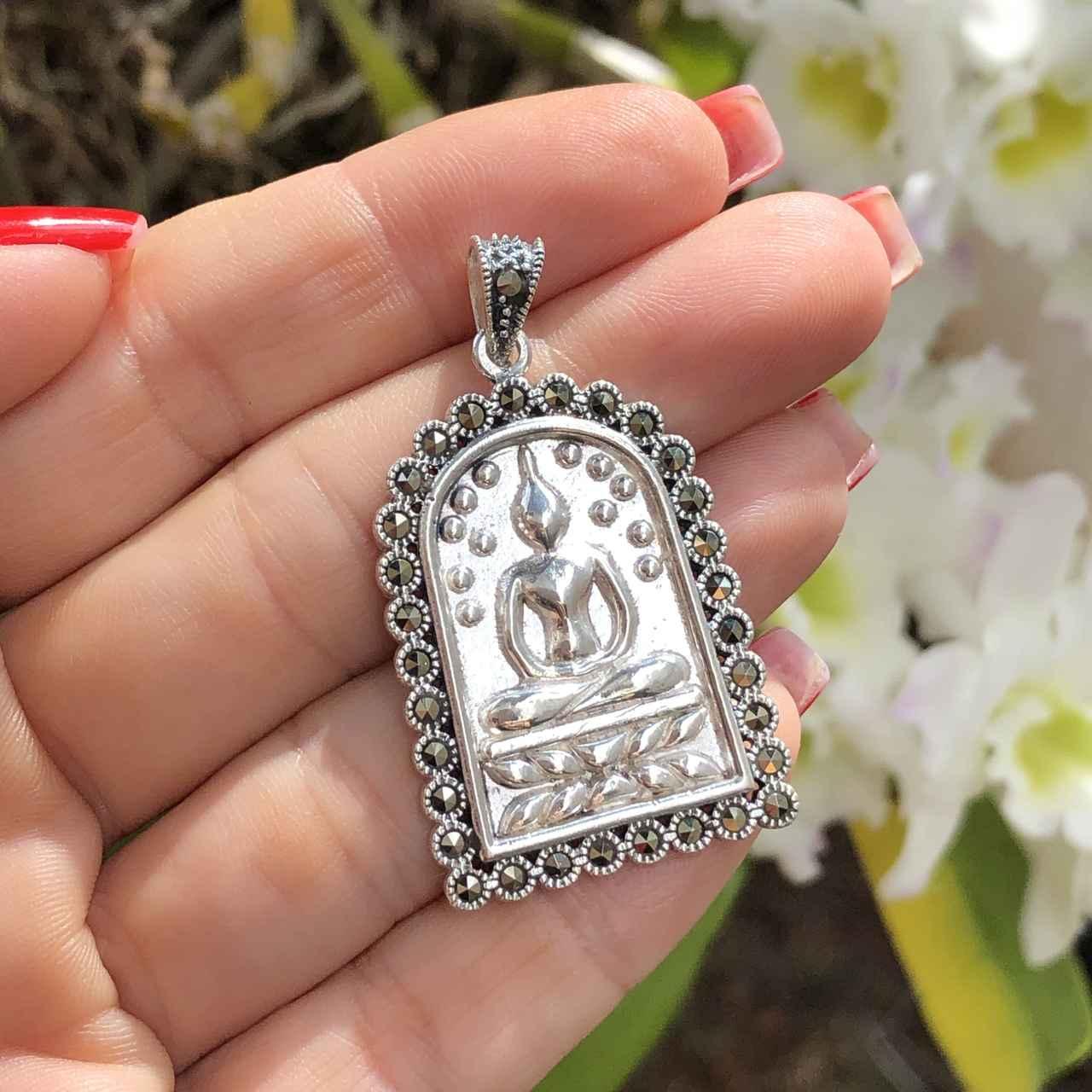 Pingente de Prata 925 Buda com Marcassita