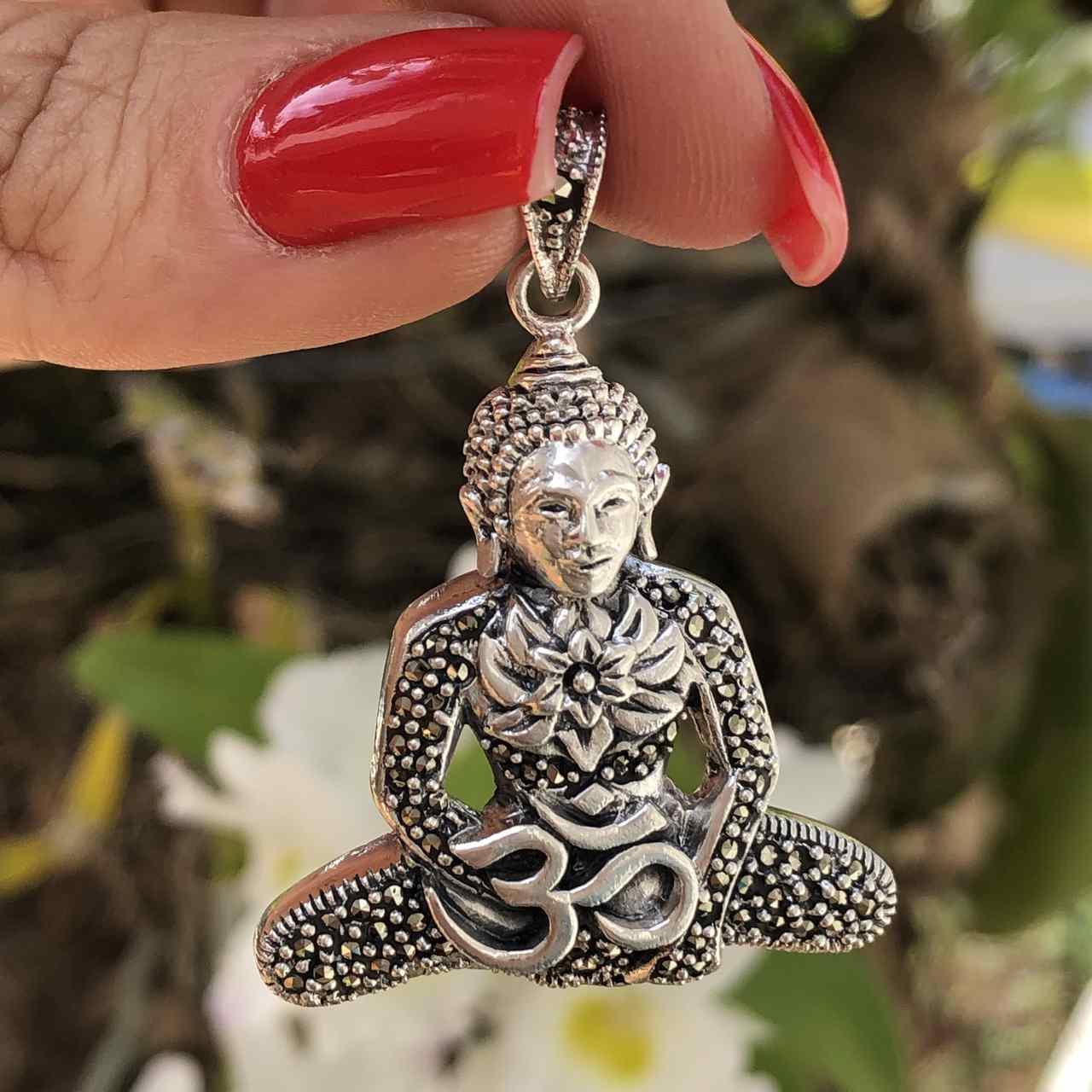 Pingente de Prata 925 Buda e OM