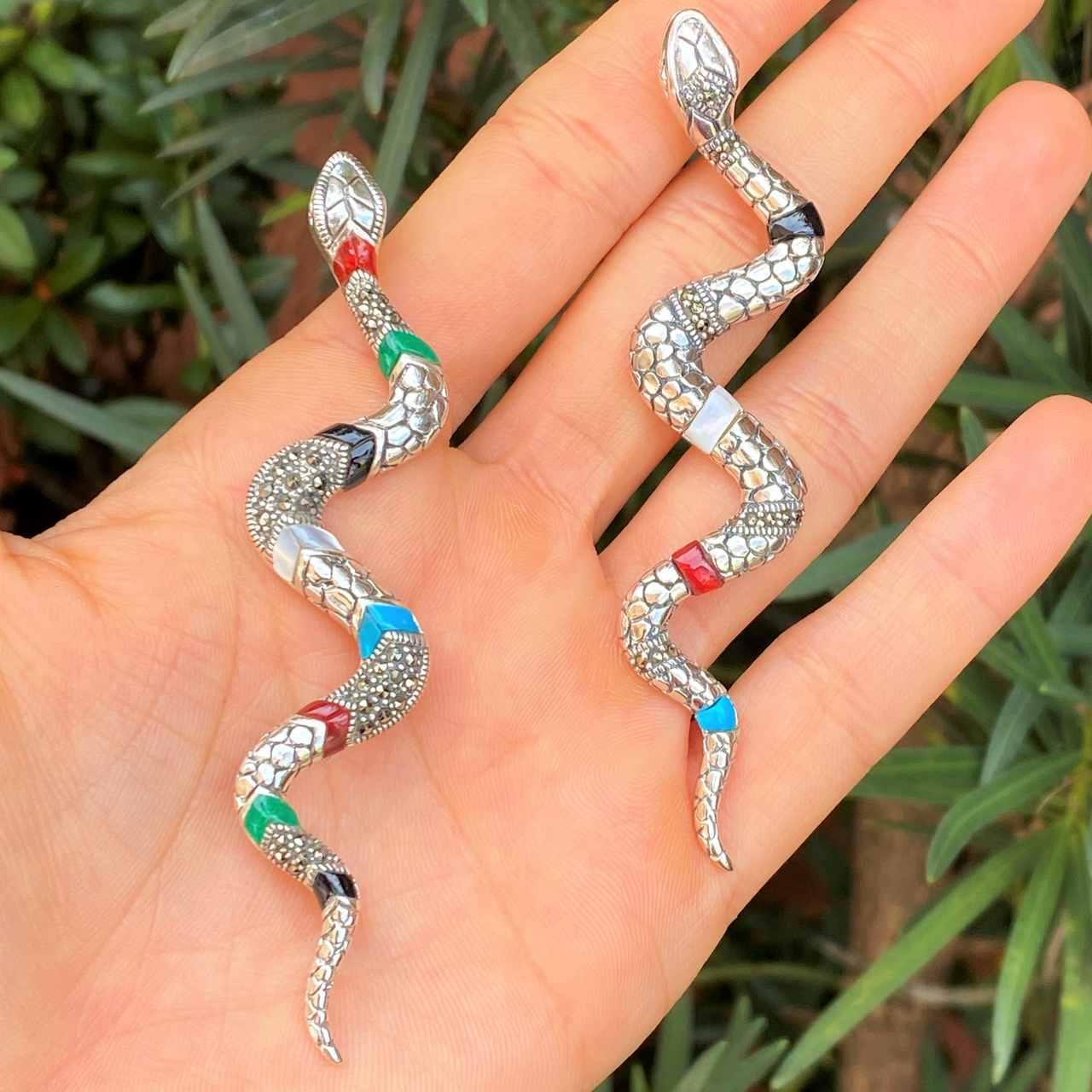 Pingente de Prata 925 Cobra Colorida com Marcassita