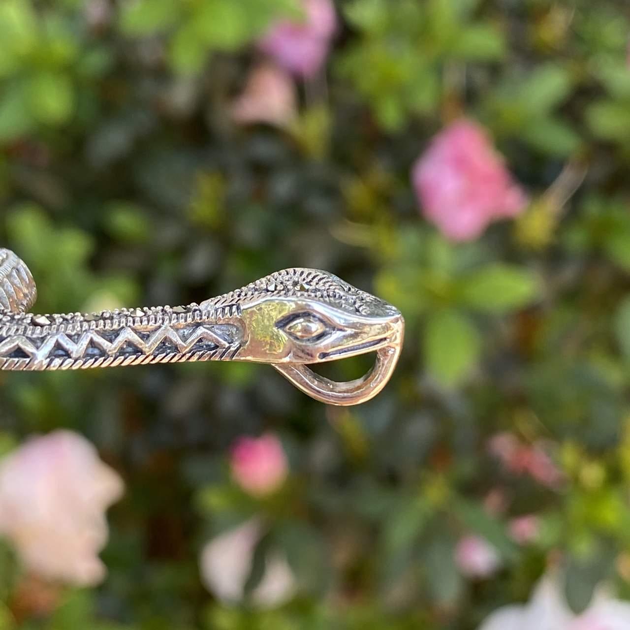 Pingente de Prata 925 Cobra Envelhecida Com Marcassita