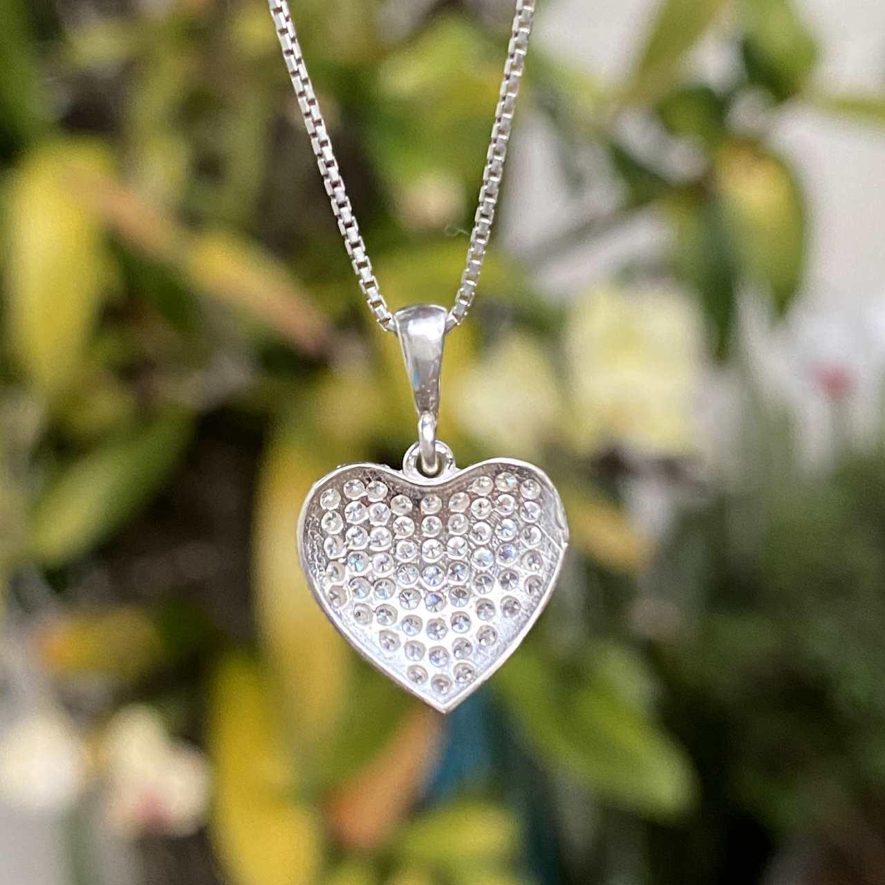 Pingente de Prata 925 Coração Cravejado Microzircônias