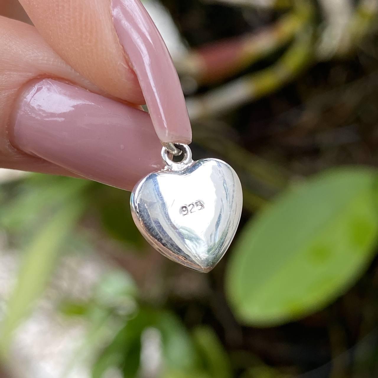 Pingente de Prata 925 Coração Pedra Abalone Pequeno