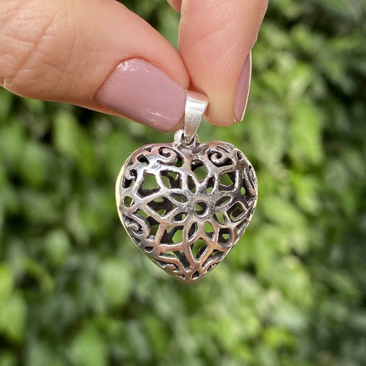 Pingente de Prata 925 Coração Trabalhado 3cm