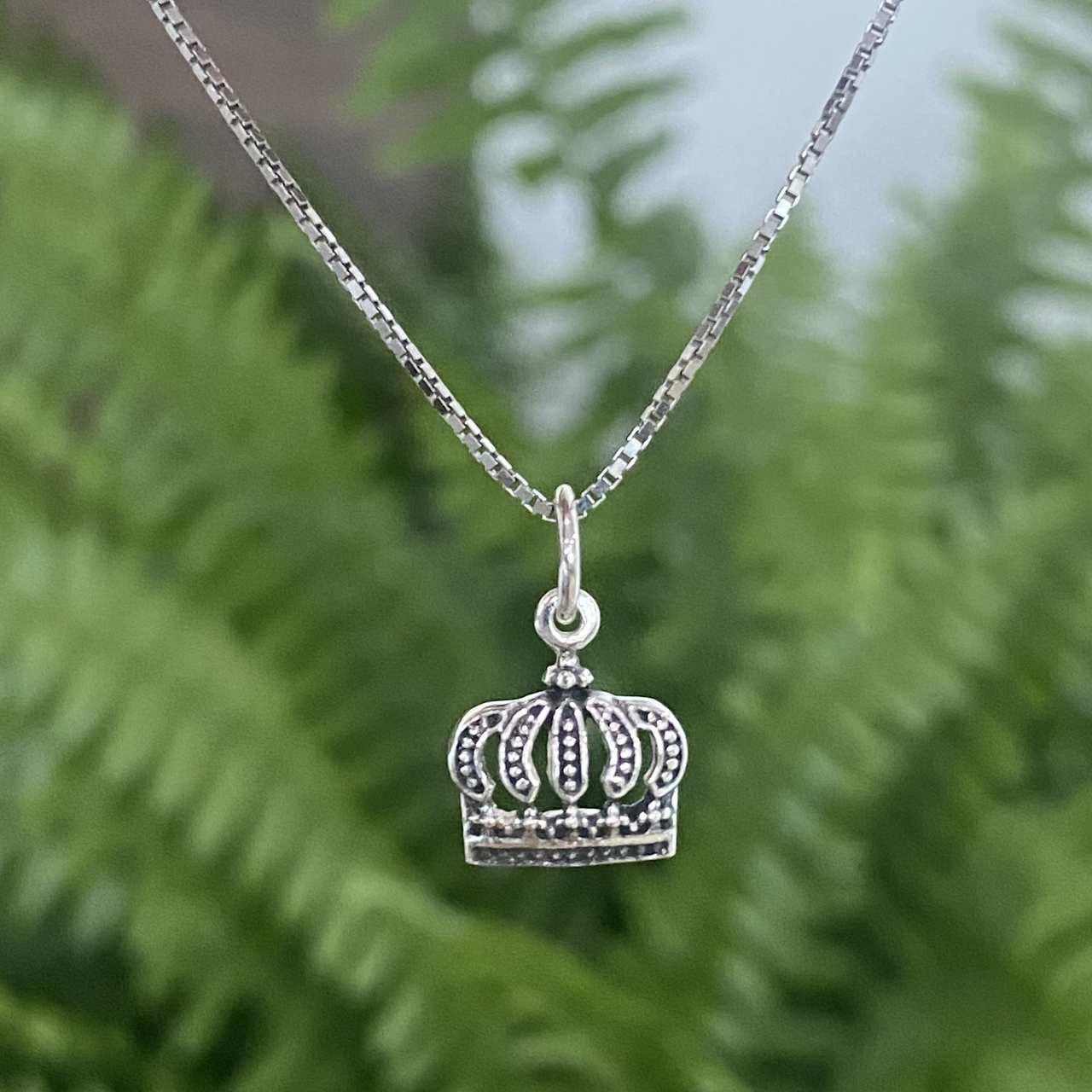Pingente de Prata 925 Coroa Envelhecida 1,6cm