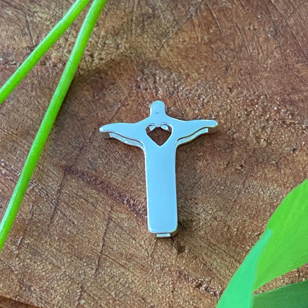 Pingente de Prata 925 Cristo Redentor c/ Coração 1,7cm