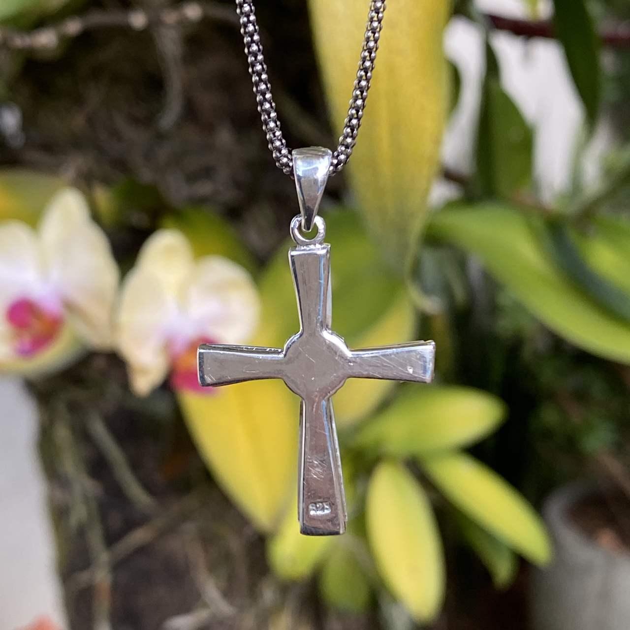 Pingente de Prata 925 Cruz Madrepérola 4cm