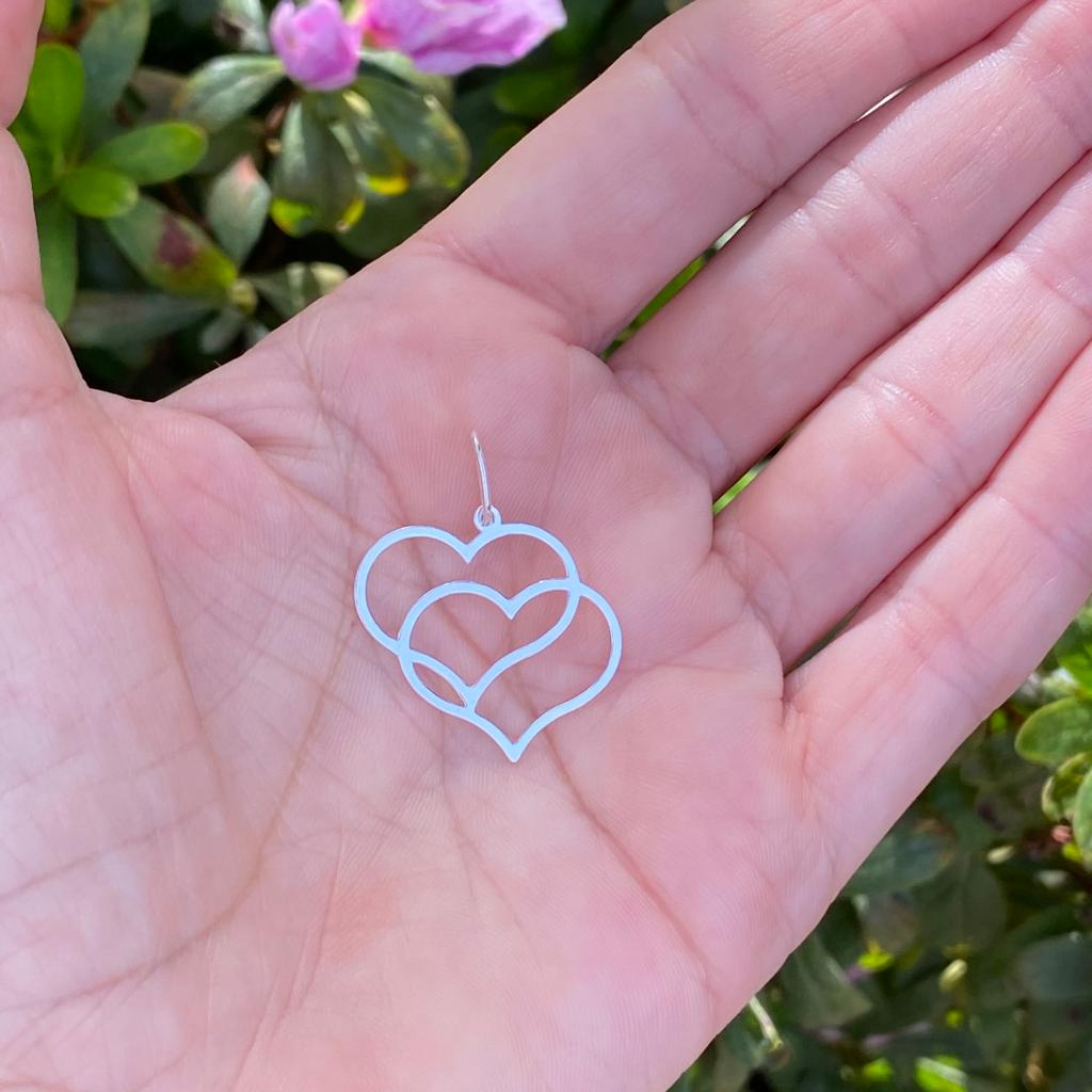 Pingente de Prata 925 Dois Corações Vazado