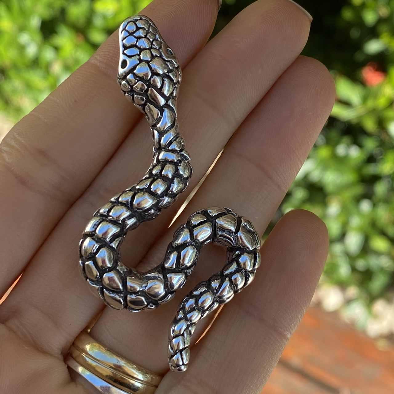 Pingente de Prata 925 Eletroformação Cobra Envelhecida