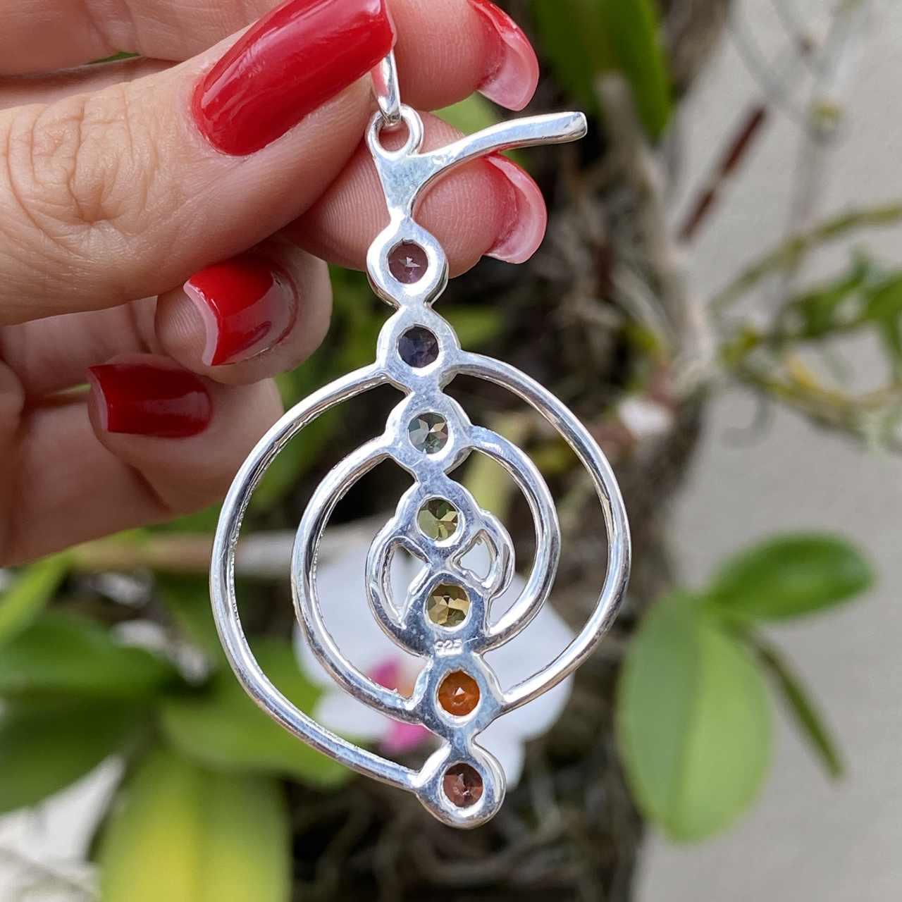 Pingente de Prata 925 Espiral 7 Chakras