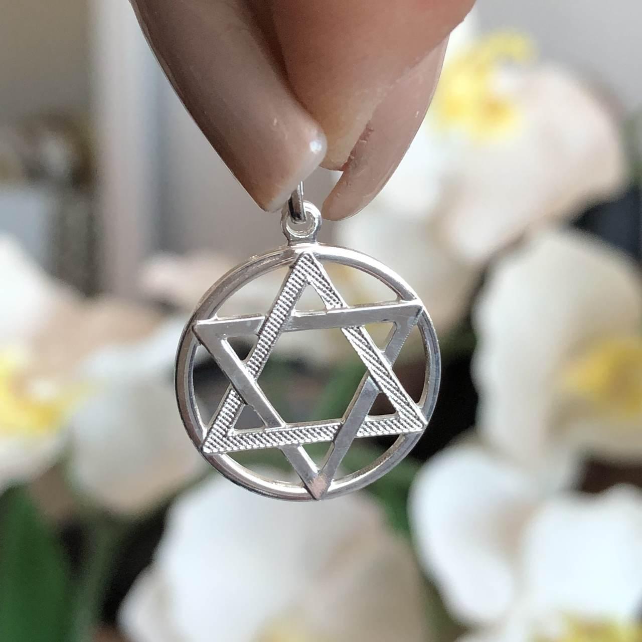 Pingente de Prata 925 Estrela de Davi 1,7 cm