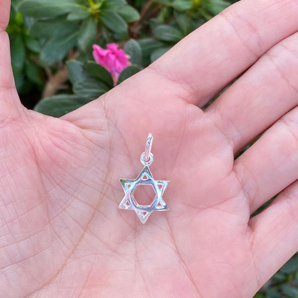 Pingente de Prata 925 Estrela de Davi Vazada  2,7cm