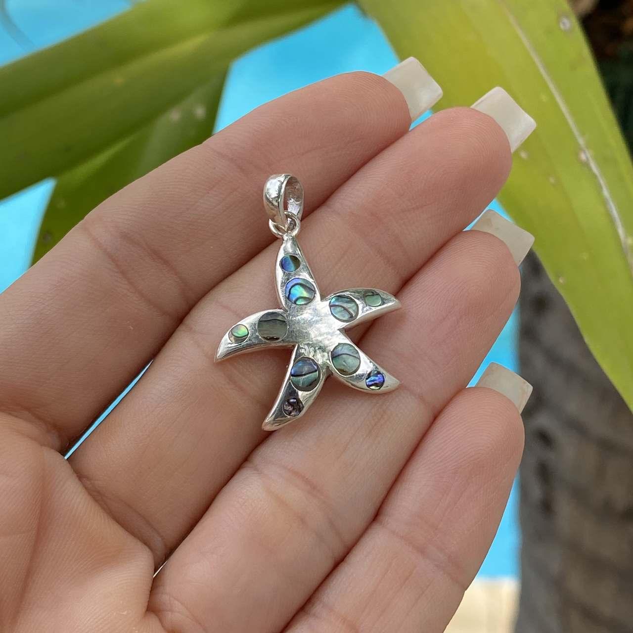 Pingente de Prata 925 Estrela do Mar com Abalone