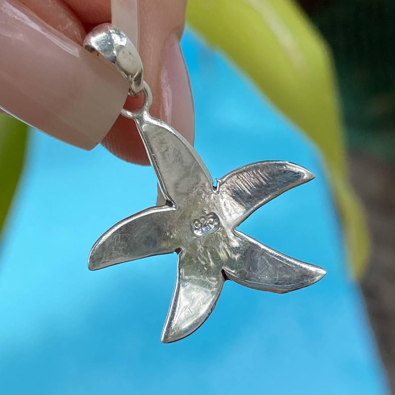 Pingente de Prata 925 Estrela do Mar com Madrepérola