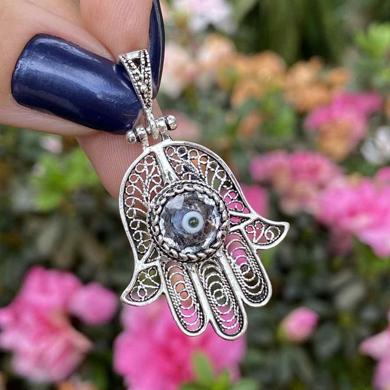 Pingente de Prata 925 Mão de Fátima Olho Grego Zircônia