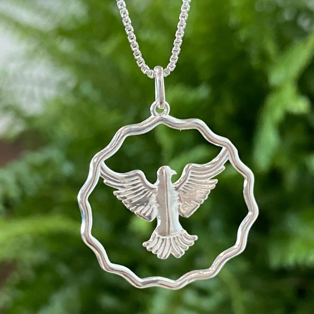 Pingente de Prata 925 Medalha Espírito Santo Vazado 3,8cm
