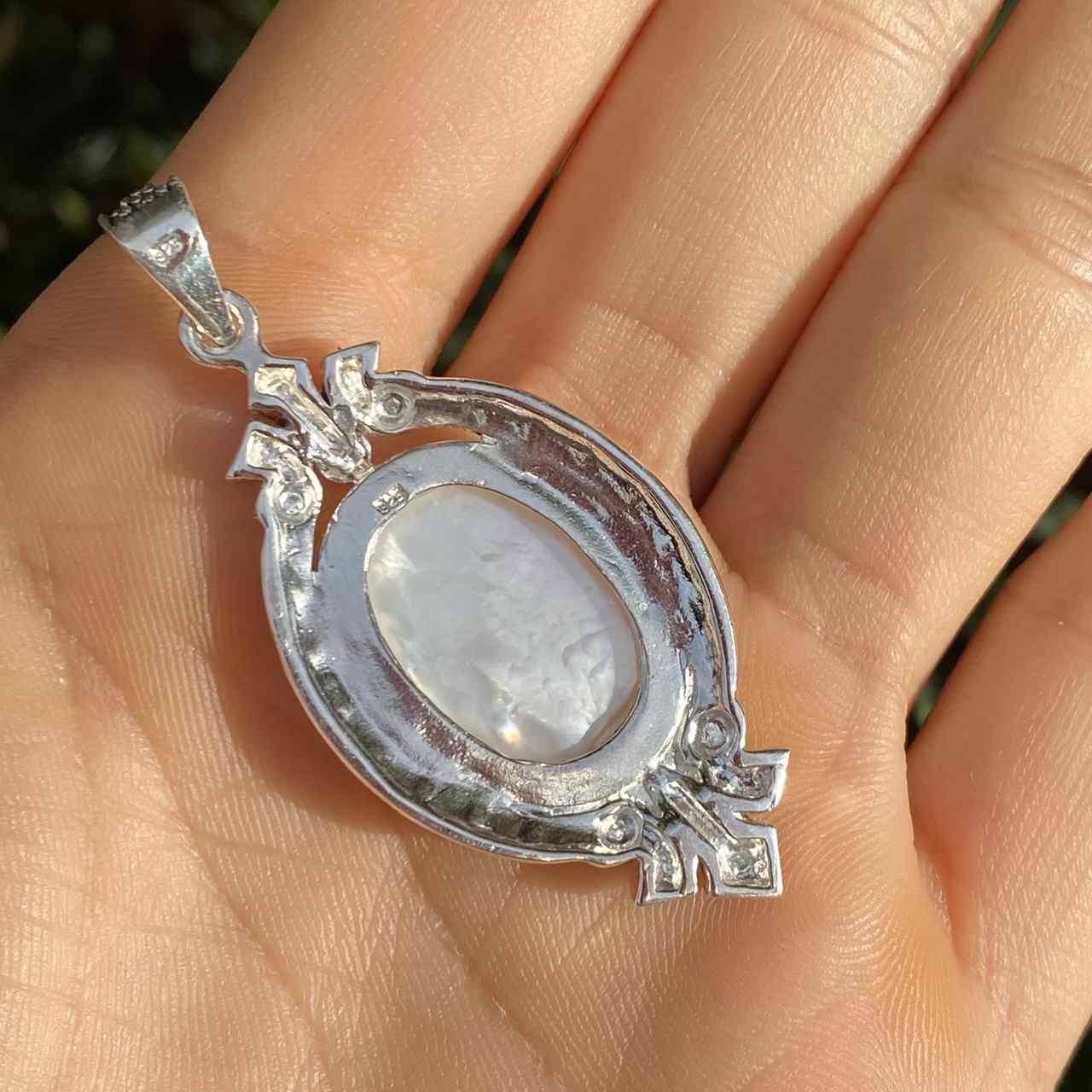 Pingente de Prata 925 Nossa Senhora Madrepérola 5cm