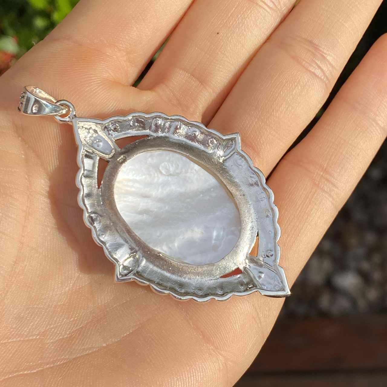 Pingente de Prata 925 Nossa Senhora Madrepérola 6cm