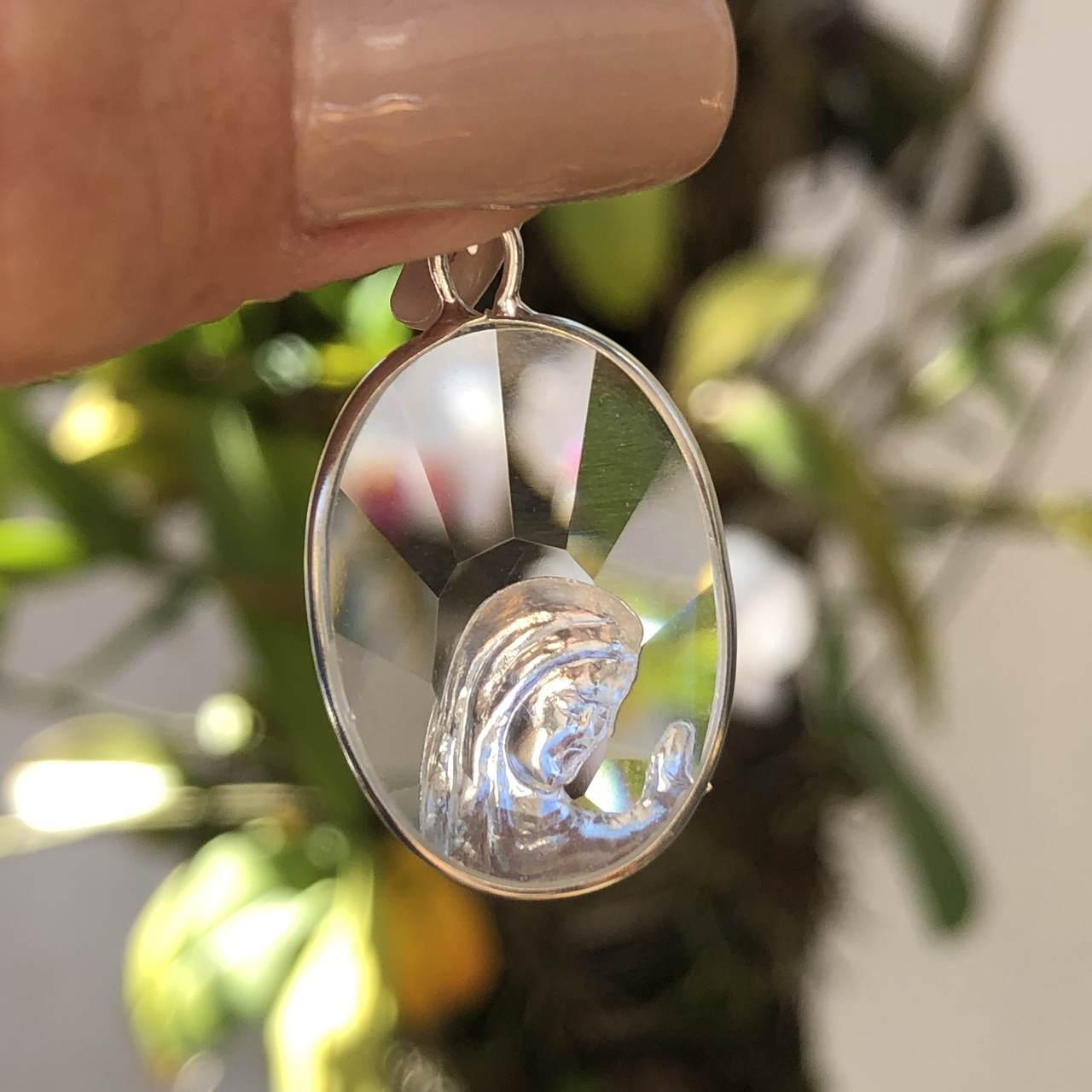 Pingente de Prata 925 Nossa Senhora no Cristal
