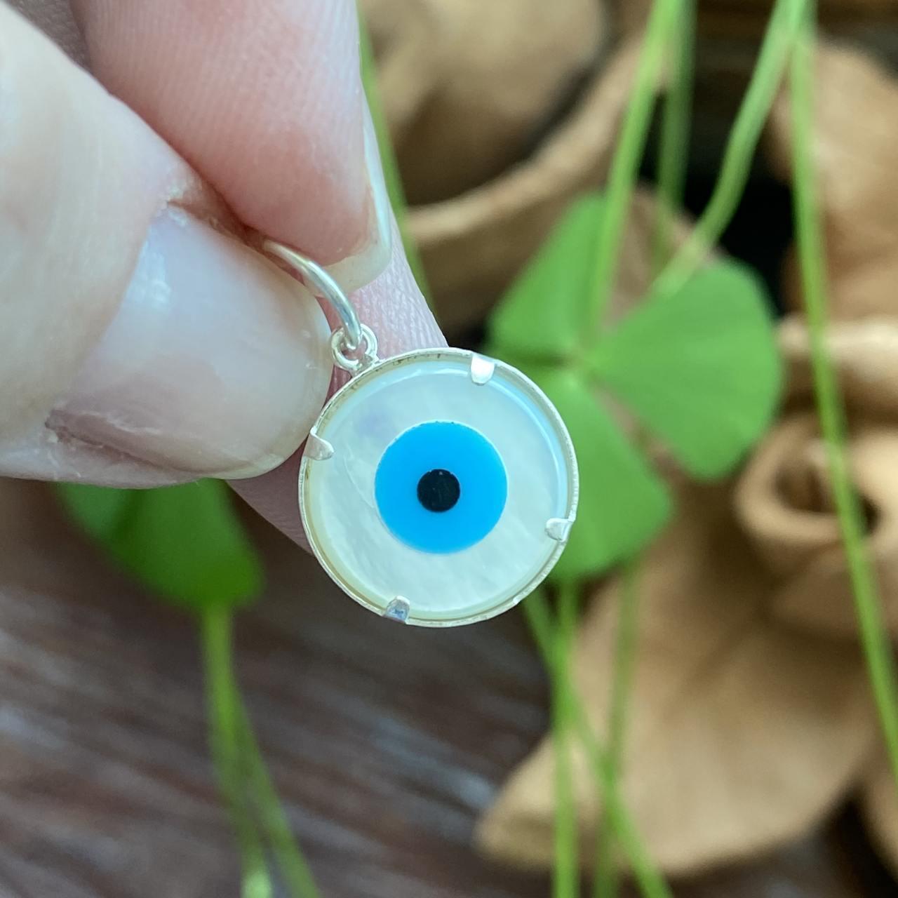 Pingente de Prata 925 Olho Grego Madrepérola Dupla face 1,2 cm