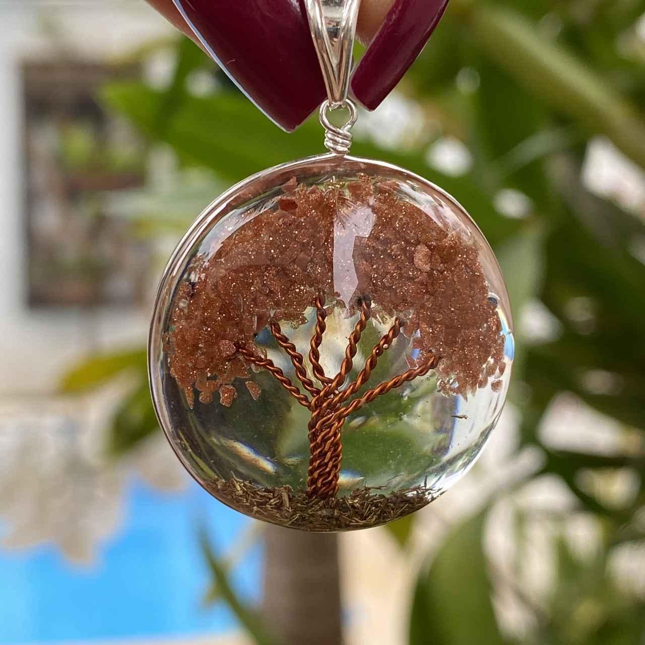 Pingente de Prata 925 Organite Árvore da Vida Pedra do Sol G