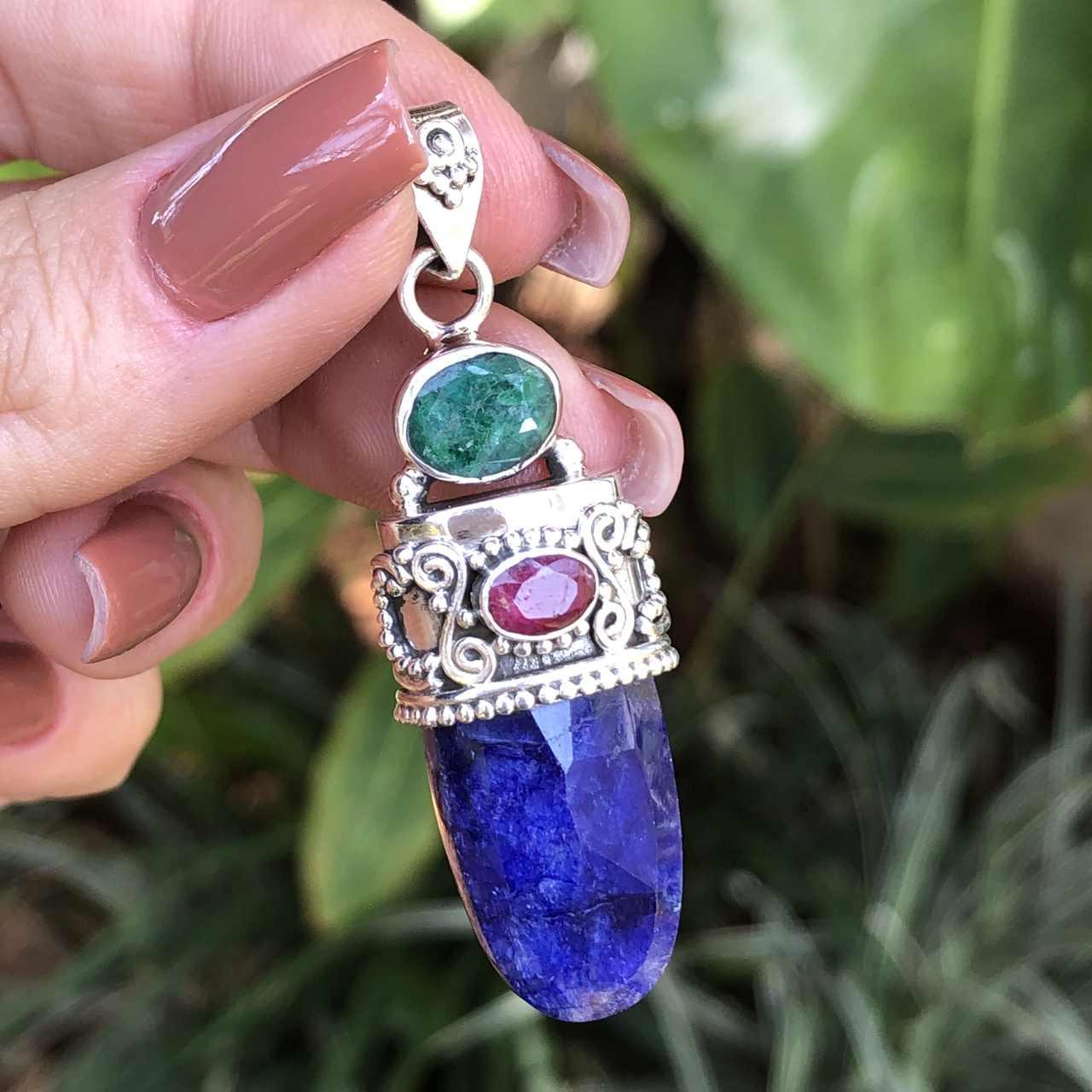 Pingente de Prata 925 Pedra Lápis Lazuli, Esmeraldita e Rubi