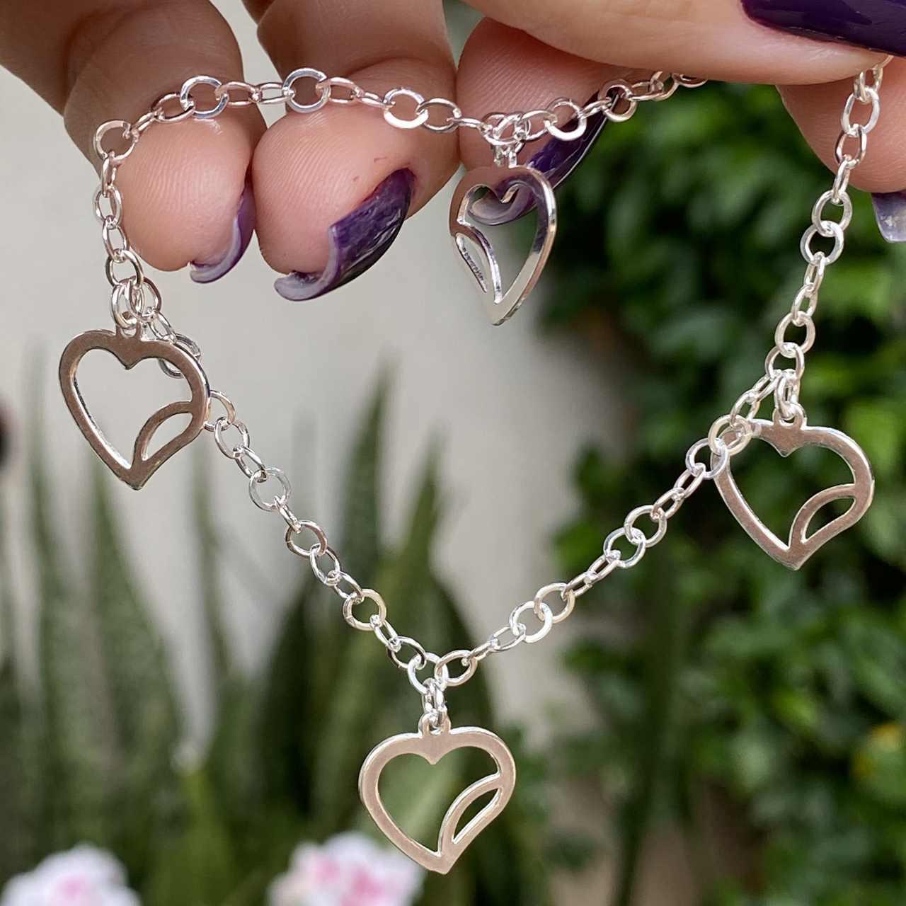 Pulseira de Prata 925 4 Pingentes de Coração Vazado