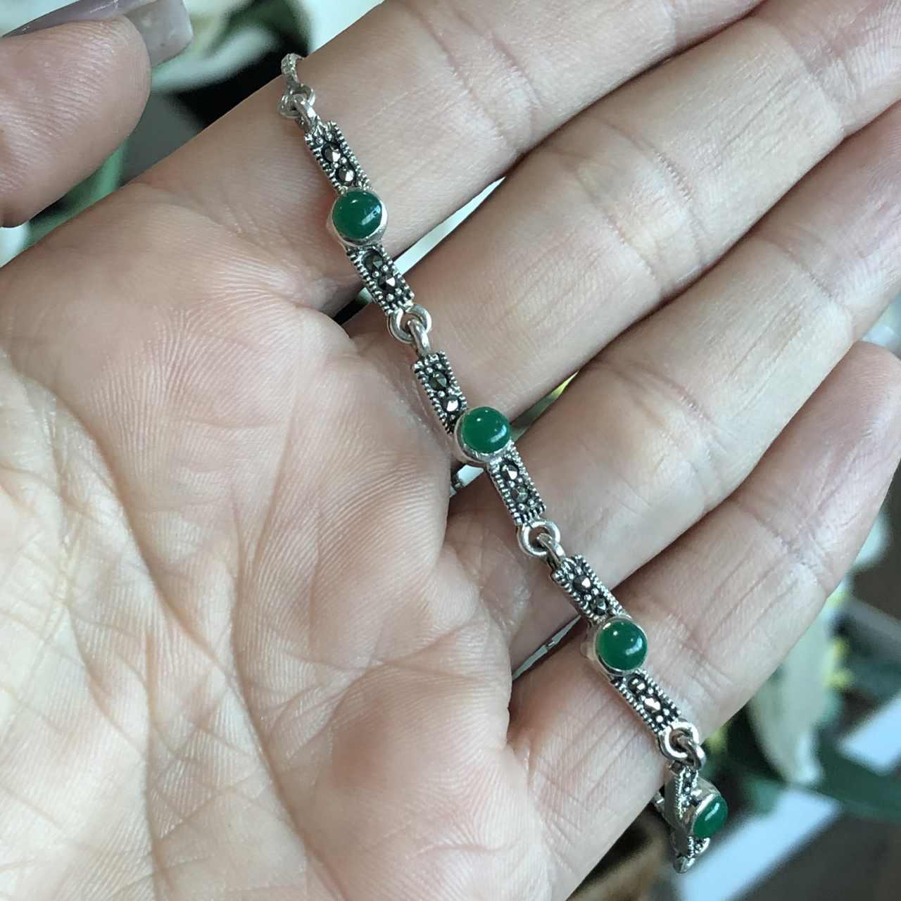 Pulseira de Prata 925 Ajustável Ágata Verde
